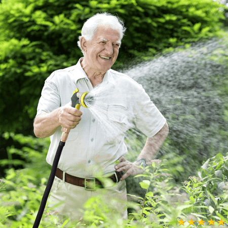 Senior Man Using Hose